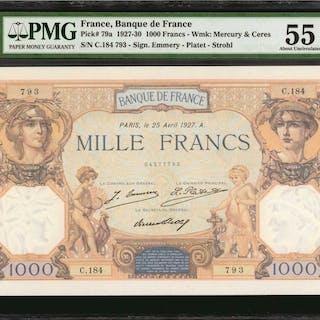 FRANCE. Banque de France. 1000 Francs, 1927-30. P-79a. PMG About Uncirculated