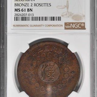 CHINA. Szechuan. 100 Cash, Year 2 (1913). NGC MS-61 Brown.