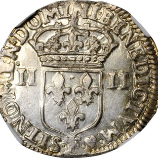 FRANCE. 1/4 Ecu, 1642-F. Angers Mint. Louis XIII. NGC MS-60.