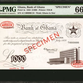 GHANA. Bank of Ghana. 1000 Pounds, 1958. P-4s. Specimen. PMG Gem Uncirculated