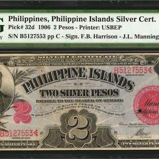 PHILIPPINES. Philippine Islands Silver Certificate. 2 Pesos, 1906.