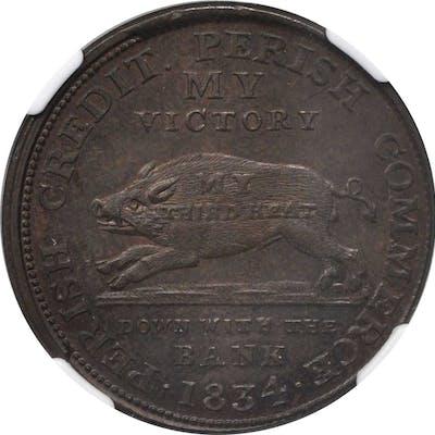 1834 Running Boar. HT-9, Low-8. Rarity-1. Copper. 28.6 mm. MS-62 BN (NGC).