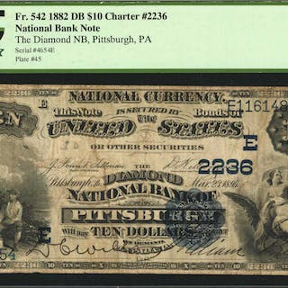 Pittsburgh, Pennsylvania. $10  1882 Date Back. Fr. 542. The Diamond