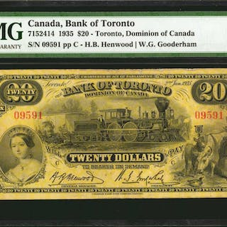 CANADA. Bank of Toronto. 20 Dollars, 1935. CH #7152414. PMG Very Fine 25.