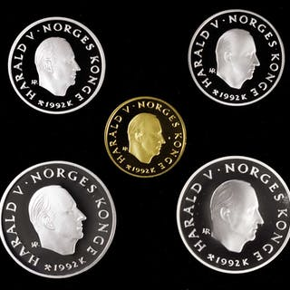 NORWAY. Gold and Silver Olympic Proof Set II (5 Pieces), 1992. Average