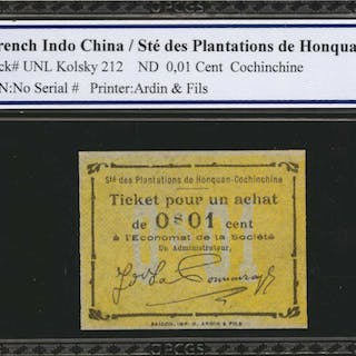 FRENCH INDO-CHINA. Ste des Plantations de Honquan. 1 Cent to 10 Cents