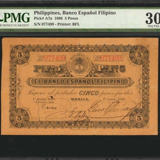 PHILIPPINES. Banco Espanop Philipino. 5 Pesos, 1896. P-A7a. PMG Very