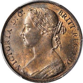 GREAT BRITAIN. Penny, 1882-H. Victoria. PCGS MS-64 BN Gold Shield.