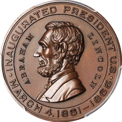 """1865"" Lincoln Political Medal Mule. Bronze. 31.5 mm. Cunningham 3-230"