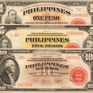 PHILIPPINES. Philippine Islands Treasury Certificates. 1, 5 & 10 Pesos