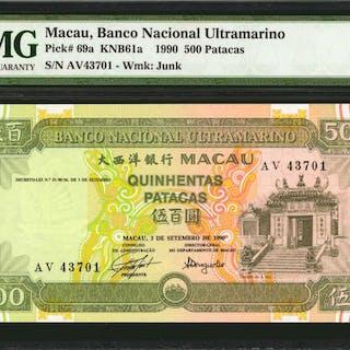 MACAU. Banco Nacional Ultramarino. 500 Patacas, 1990. P-69a. PMG Choice