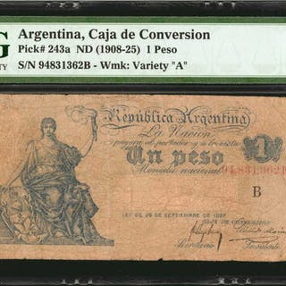 ARGENTINA. Caja de Conversion. 1 Peso, ND (1908-25). P-243a. PMG Choice