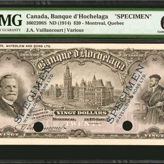 CANADA. Banque d' Hochelaga. 20 Dollars, 1914. P-3602206S. Face and