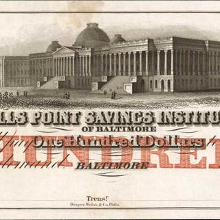 Baltimore, Maryland. Fells Point Savings Institution. ND (18xx). $100.