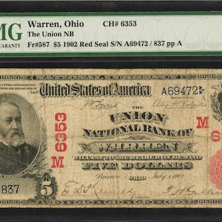 Warren, Ohio. $5  1902 Red Seal. Fr. 587. The Union NB. Charter #6353.