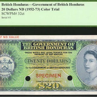 BRITISH HONDURAS. Government of British Honduras. 20 Dollars, ND (1952-73).