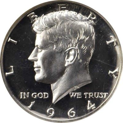 1964 Kennedy Half Dollar. FS-401. Type I, Accented Hair. Proof-68