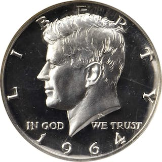 1964 Kennedy Half Dollar. FS-401. Type I, Accented Hair. Proof-68