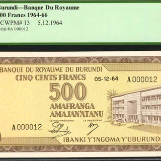 BURUNDI. Banque du Royaume. 500 Francs, 1964-66. P-13. Serial Number
