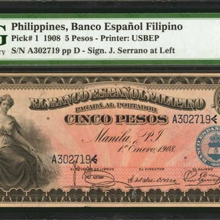 PHILIPPINES. Banco Espanol Filipino. 5 Pesos, 1908. P-1. PMG About