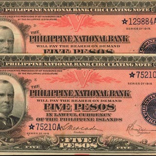 PHILIPPINES. Philippine National Bank. 5 Pesos, 1916. P-46b. Replacements.