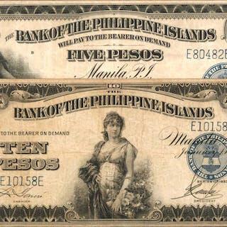 PHILIPPINES. Bank of the Philippine Islands. 5 & 10 Pesos, 1933. P-22