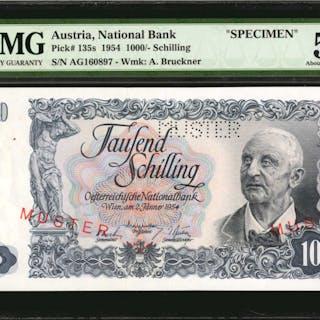 AUSTRIA. National Bank. 1000 Shillings, 1954. P-135s. Specimen. PMG