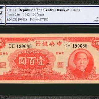 CHINA--REPUBLIC. Central Bank of China. 100 Yuan, 1942. P-250. PCGS