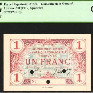 FRENCH EQUATORIAL AFRICA. Gouvernement General. 1 Franc, ND (1917).