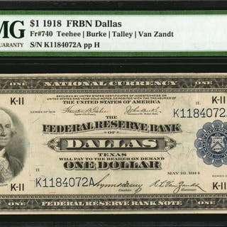 Fr. 740. 1918 $1  Federal Reserve Bank Note. Dallas. PMG Choice Very Fine 35.