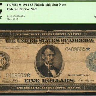 Fr. 855a*. 1914 $5  Federal Reserve Star Note. Philadelphia. PCGS