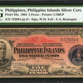 PHILIPPINES. Philippine Islands Silver Certificate. 5 Pesos, 1903.
