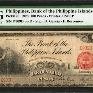 PHILIPPINES. Bank of The Philippine Islands. 100 Pesos, 1928. P-20.