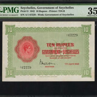 SEYCHELLES. Government of Seychelles. 10 Rupees, 1942. P-9. PMG Choice
