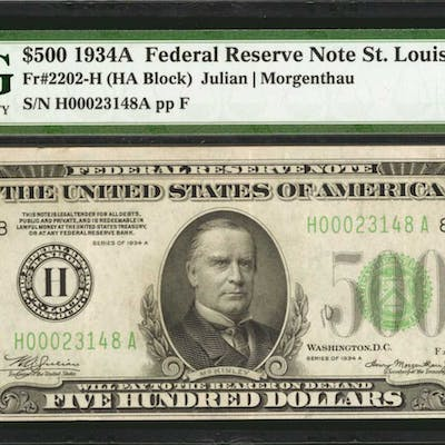 Fr. 2202-H. 1934A $500 Federal Reserve Note. St. Louis. PMG Extremely Fine 40.