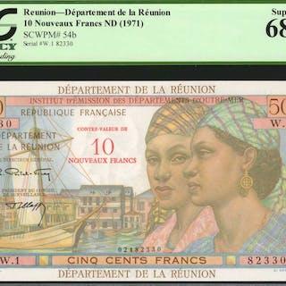 REUNION. Department de la Reunion. 10 Nouveaux Francs, ND (1971).
