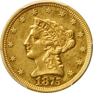 1875 Liberty Head Quarter Eagle. AU-53 (PCGS).