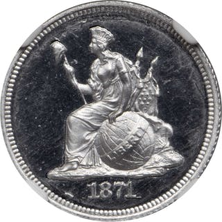 1871 Pattern Dime. Judd-1079, Pollock-1215. Rarity-7+. Aluminum. Reeded