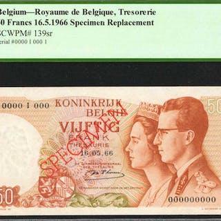 BELGIUM. Royaume de Belgique Tresorerie. 50 Francs, 1966. P-139sr.