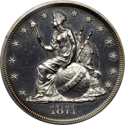 1871 Pattern Dollar. Judd-1138a, Pollock-1276. Rarity-8. Silver. Reeded