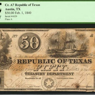 Austin, Texas. Republic of Texas. 1840  $50. PCGS Currency Very Fine
