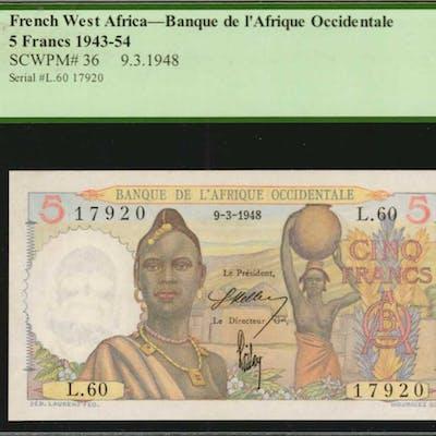 FRENCH WEST AFRICA. Banque de l'Afrique Occidentale. 5 Francs, 1943-54.