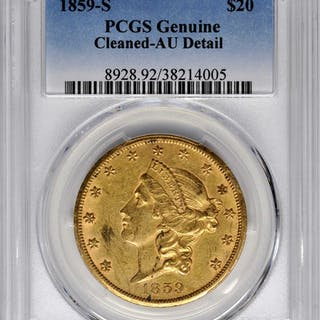 Lot of (2) 1859-S Liberty Head Double Eagles. AU Details--Cleaned (PCGS).