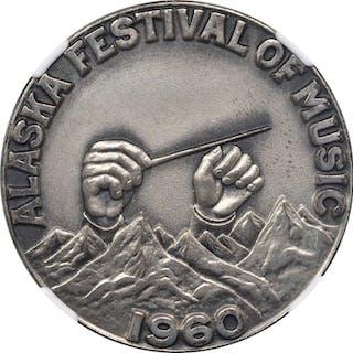 1960 Alaska Festival of Music. Silver. 38 mm. HK-575. Rarity-5. MS-66 (NGC).