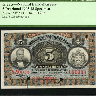 GREECE. National Bank of Greece. 5 Drachmai, 1905-18. P-54s. Specimen.