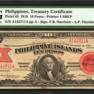 PHILIPPINES. Philippine Islands Treasury Certificate. 10 Pesos, 1918.