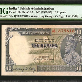 INDIA. Government of India. 10 Rupees, ND (1928-35). P-16b. PMG Choice