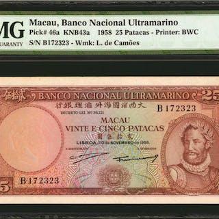 MACAU. Banco Nacional Ultramarino. 25 Patacas, 1958. P-46a. PMG Choice