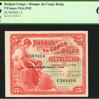 BELGIAN CONGO. Banque du Congo Belge. 5 Francs, 1942. P-13. PCGS Currency