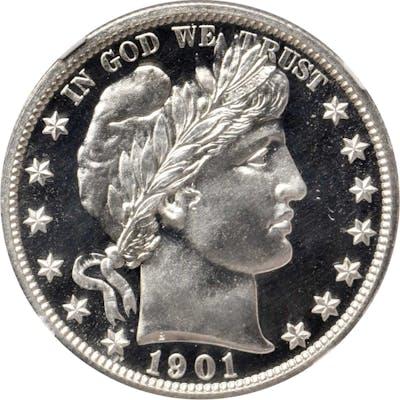 1901 Barber Half Dollar. Proof-69 * Cameo (NGC).